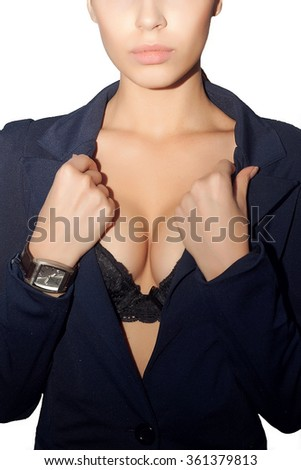 Portrait of beautiful  woman in black jacket and bra