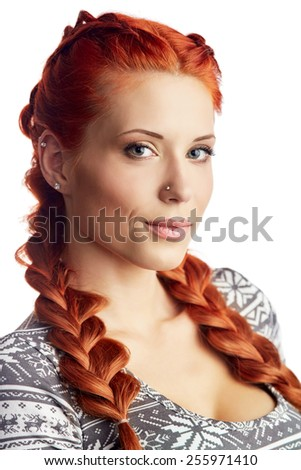 Portrait of beautiful woman in knitted dress. Fashion photo. Redhead girl - stock photo