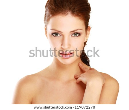 Portrait of beautiful woman, isolated on white background - stock photo