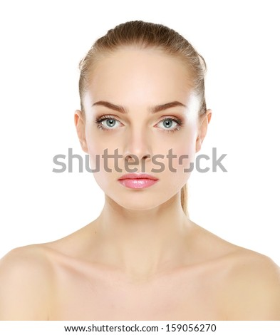 Portrait of beautiful woman , isolated on white background