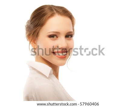 Portrait of beautiful woman, isolated on white background. - stock photo
