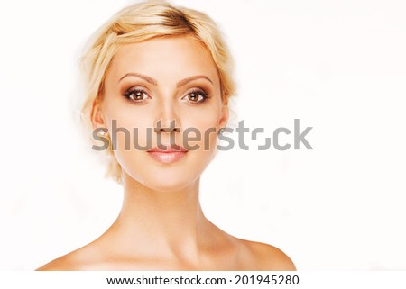 Portrait of beautiful woman on white background.
