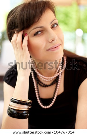 Portrait of beautiful woman. Outdoor - stock photo