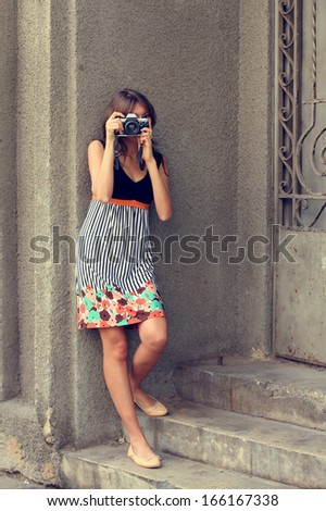 Portrait of beautiful woman outdoors - stock photo