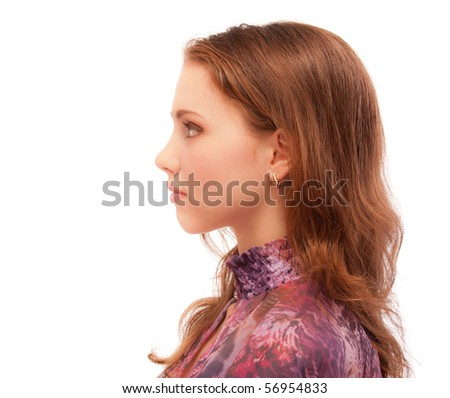 Portrait of beautiful woman profile, isolated on white background. - stock photo