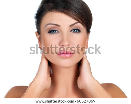 Portrait of beautiful woman she is doing neck massage