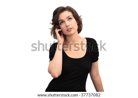 Portrait of beautiful woman, speaking over the mobile phone. The image is isolated on white.