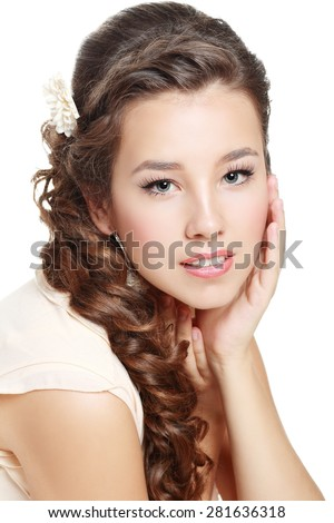 Portrait of Beautiful Woman Wedding Model Isolated on White Background. Advertising and Commercial Design. Shopping. Perfect Hairstyle with fresh flowers - stock photo
