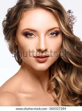 Portrait of Beautiful Woman Wedding Model on White Background. Bridal Hairstyle. Advertising and Commercial Design. - stock photo