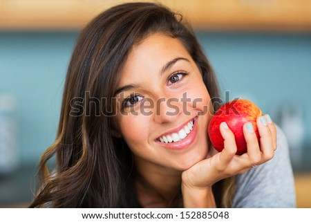 Portrait of beautiful woman with an apple, Healthy Lifestyle Concept - stock photo
