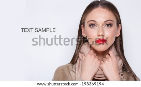 Portrait of beautiful woman with bright fashion makeup  - stock photo