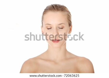 Portrait of beautiful woman with clean healthy skin, before spa treatment, isolated on white