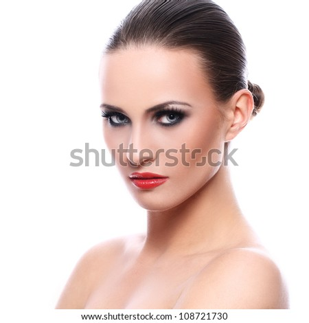 Portrait of beautiful woman with evening makeup - stock photo