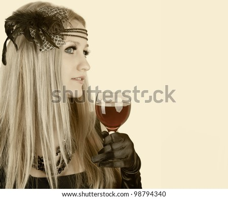 Portrait of beautiful woman with glass red wine isolated on white, retro portrait