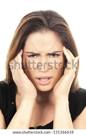 Portrait of beautiful woman with headache - stock photo