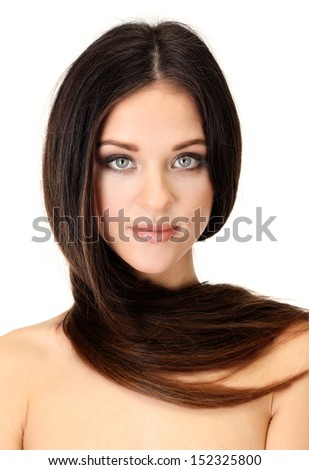 Portrait of beautiful woman with long hair, isolated on white