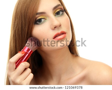 portrait of beautiful woman   with make-up brush for powder, isolated on white - stock photo