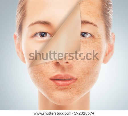 Portrait of beautiful woman with new smooth skin after cosmetic procedure, concept of beauty and skincare - stock photo
