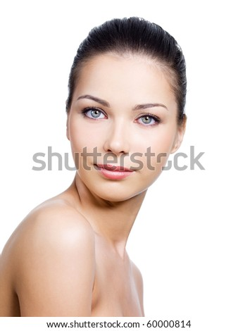 Portrait of beautiful woman with pretty face with clean skin on it - white background - stock photo