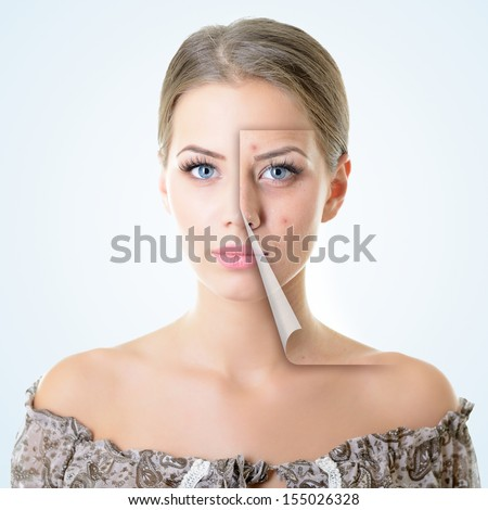 portrait of beautiful woman with problem and clean skin, aging and youth concept, beauty treatment - stock photo