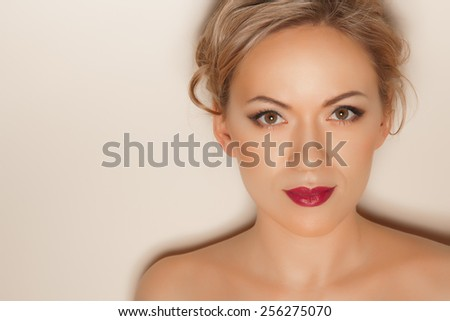 Portrait of beautiful woman with sexy sensuous wine lips - stock photo