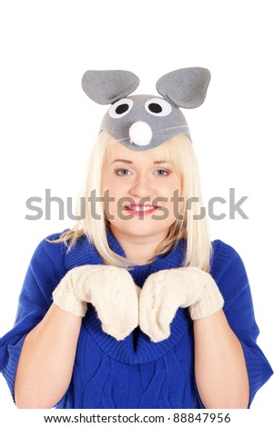 Portrait of beautiful women in blue sweater and white mitten wearing mouse mask on isolated white background