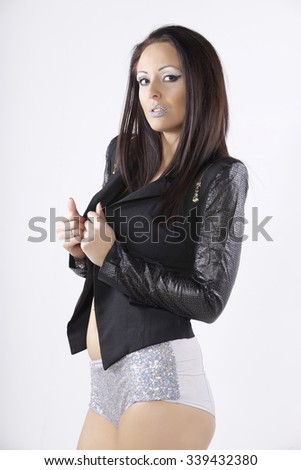 portrait of beautiful young adult attractive sexy and sensuality pretty brunette lovely woman with winter diamond makeup isolated on white background - stock photo