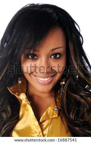 Portrait of beautiful young African American smiling