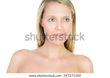Portrait of beautiful young blond woman with clean face isolated