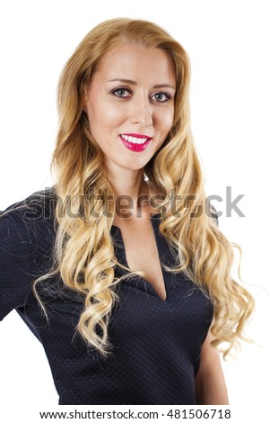 Portrait of beautiful young blonde woman in black elegance fashionable dress isolated on white background