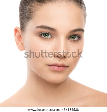 Portrait of beautiful young brunette woman with clean face. Beauty spa model girl with perfect fresh clean skin. Looking at camera and smiling. Youth and skin care concept. Isolated on a white - stock photo