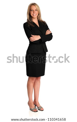 Portrait of beautiful young businesswoman standing isolated over white background