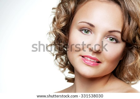 Portrait of beautiful young fashion model - stock photo