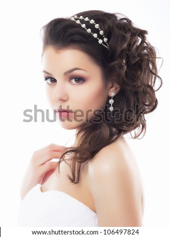 Portrait of Beautiful Young Fashion Sexy Bride Isolated on White Background. Jewelry and Luxury - Wedding Style - stock photo