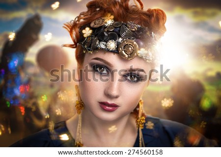 Portrait of beautiful young girl, lady, model, character, sorceress, magic, witchcraft. Perfect bright makeup, expressive eyebrows, smoky eyes, natural pink lips. Fantasy, creative, fairy tale look.   - stock photo