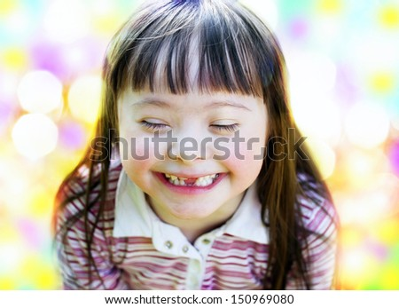 Portrait of beautiful young girl smiling - stock photo