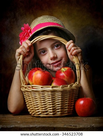 Portrait of beautiful young girl with apples. - stock photo