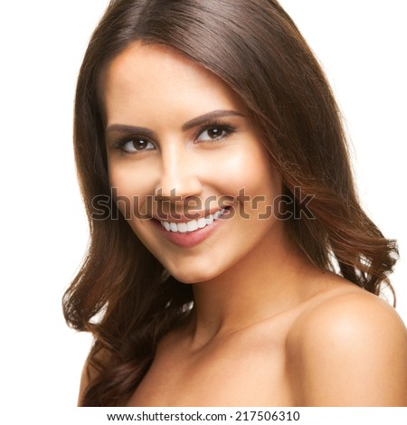 Portrait of beautiful young happy smiling woman, isolated over white background