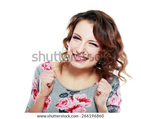 Portrait of beautiful young happy smiling woman with long curly hair gesture - stock photo