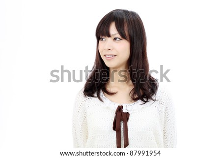 Portrait of beautiful young japanese smiling woman