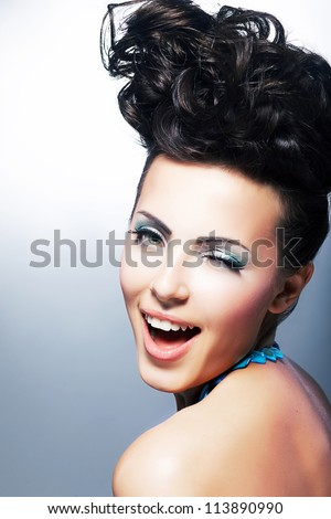 Portrait of Beautiful Young Laughing Shopper Woman - Toothy Smile. Beauty, Fashion - stock photo