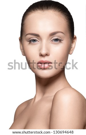 portrait of beautiful young model, over white background, studio shot - stock photo