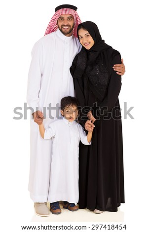 portrait of beautiful young muslim family isolated on white - stock photo