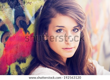 Portrait of beautiful young woman. - stock photo