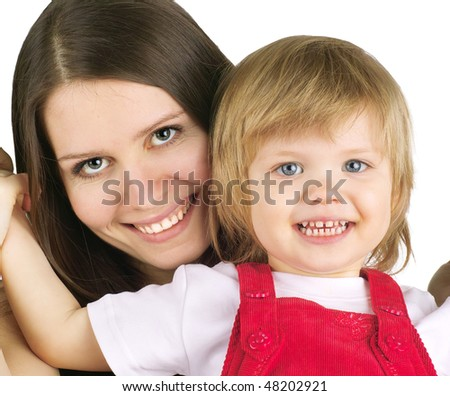 Portrait of beautiful young woman and her daughter on a white background