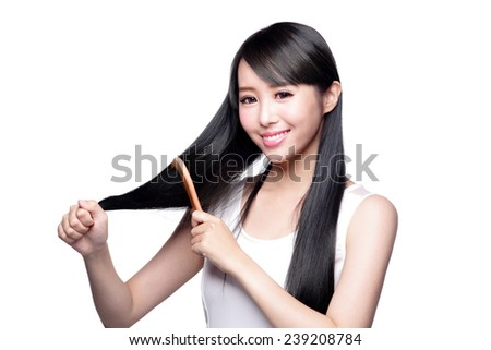 portrait of beautiful young woman brush wonderful hair isolated on white background, asian beauty - stock photo