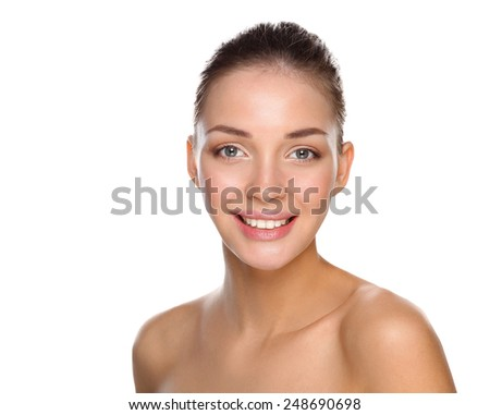 Portrait of beautiful young woman face. Isolated on white background - stock photo