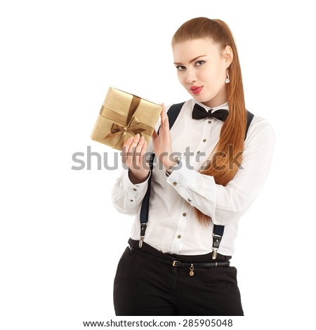 Portrait of beautiful young woman in strict clothing with bow tie isolated on white background - stock photo