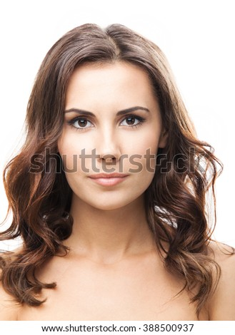 Portrait of beautiful young woman, isolated over white background