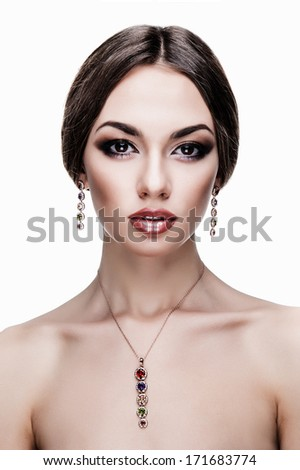 Portrait of beautiful young woman, isolated over white background.Fashion Glamour Makeup. - stock photo